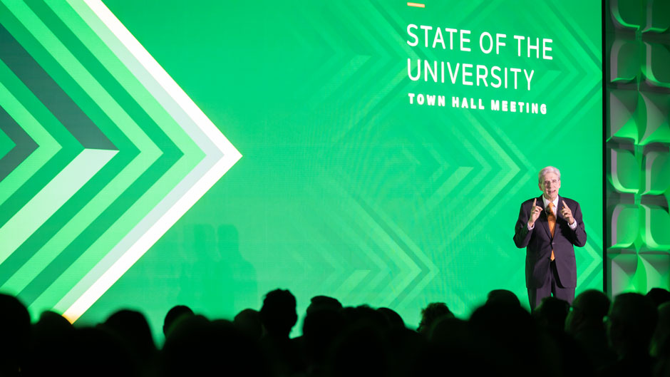 UM President Frenk addressed the University community during the State of the University town hall event