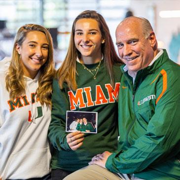 Kristina, Jenny and Ed Hudak. Photo by Evan Garcia/University of Miami