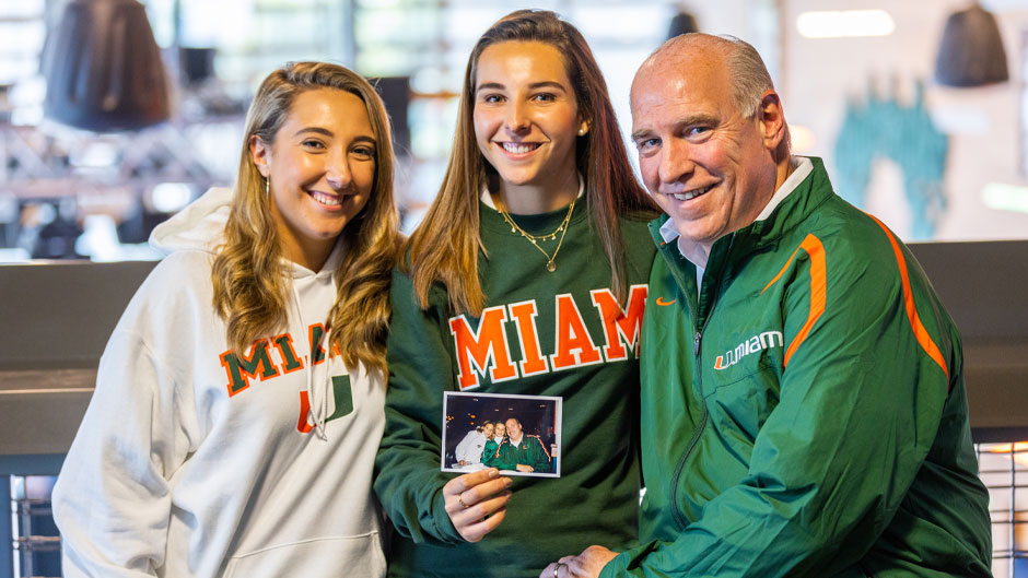 Kristina, Jenny and Ed Hudak. Photo by Evan Garcia/University of Miami