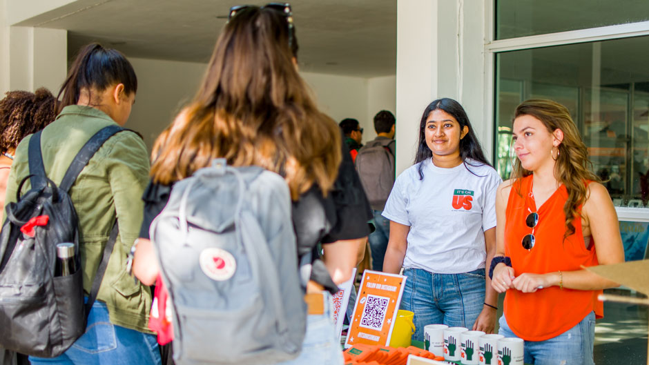 Students tabling during an Its On Us campus programming event