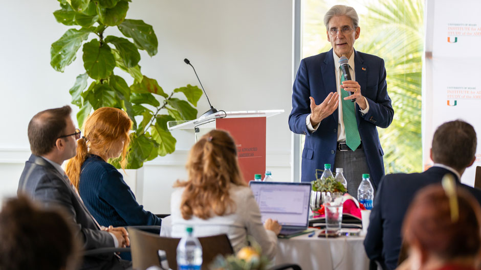 President Julio Frenk during his half-hour talk titled Human Migration and Health Care Systems.