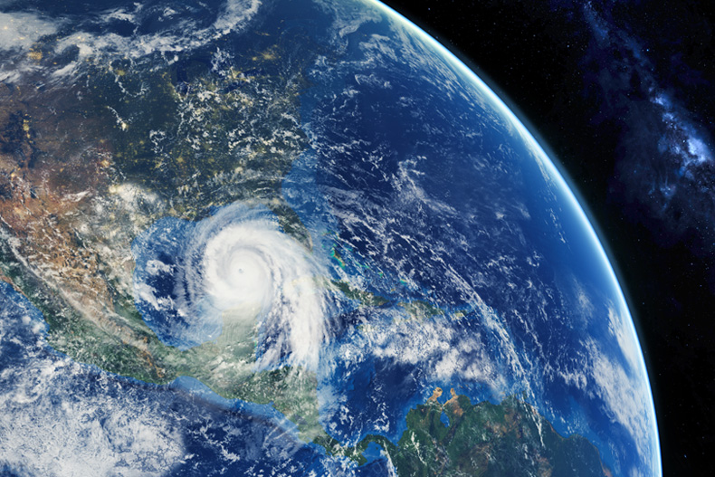 Atlantic hurricane season satellite image