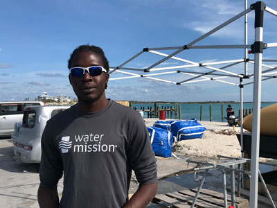 Since early October Dominique Nannings has been providing clean drinking water to Abaco residents from a portable desalination plant.