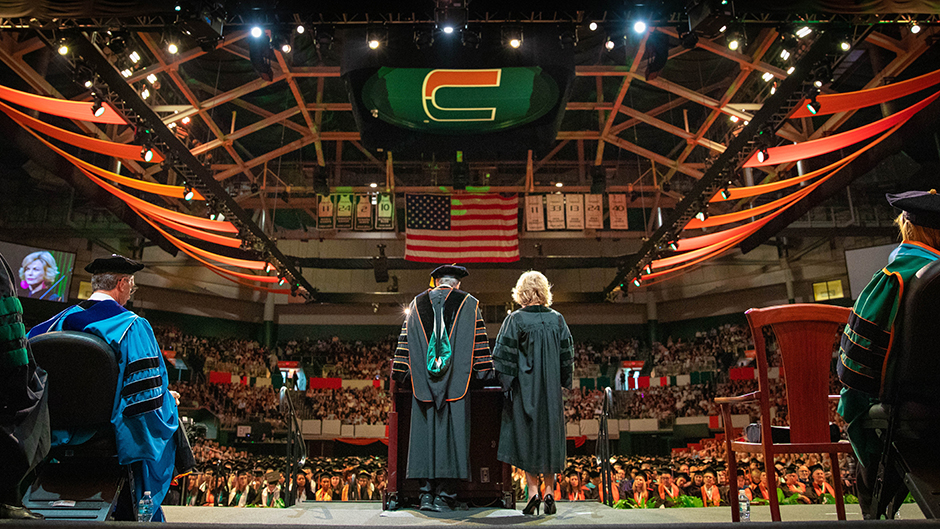University of Miami President Julio Frenk introduces commencement speaker Pat Mitchell, a broadcast journalist who addressed student last May