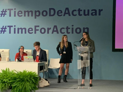 UM law students Gabriela Falla, right, and Natalie Cavellier present at a COP25 panel.