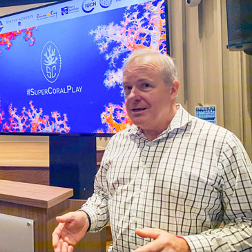 At Thursday.s press conference, coral reef expert Chris Langdon, a professor of marine biology and ecology at the University of Miami's Rosenstiel School of Marine and Atmospheric Science, talks about robust and resilient coral reefs that can survive mass bleaching events and disease.
