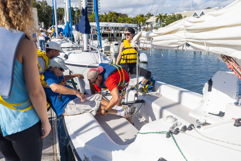 The 35 students ditched their traditional class setting to meet nearly 3 1/2 miles north of the Coral Gables campus at Shake-A-Leg Miami, a sailing and watersports nonprofit organization that serves the physically challenged and their friends and families.