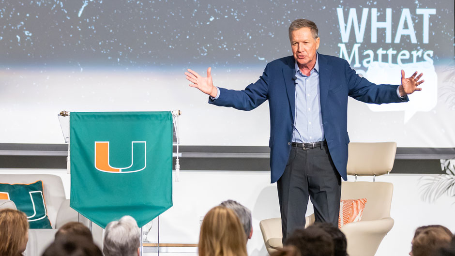 John Kasich, the former governor of Ohio and one-time presidential candidate, shared stories of persistence and kindness to encourage people to seek change in America during an address Tuesday.