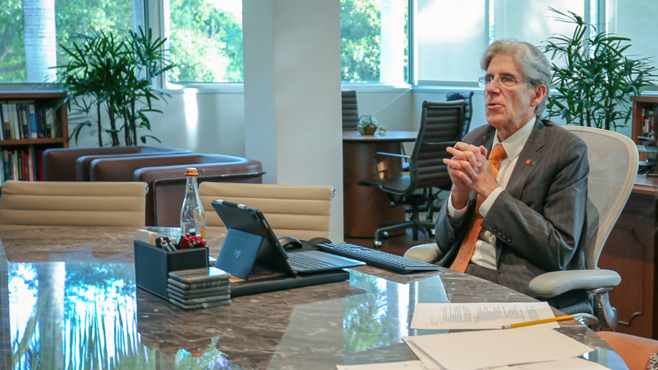 President Frenk conducts a call of the Academic Leaders Council from his office