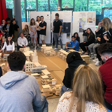 University of Miami School of Architecture first-year students construct a mega-model of a resilient Bahamian village, part of a school-wide initiative of projects focused on the country.