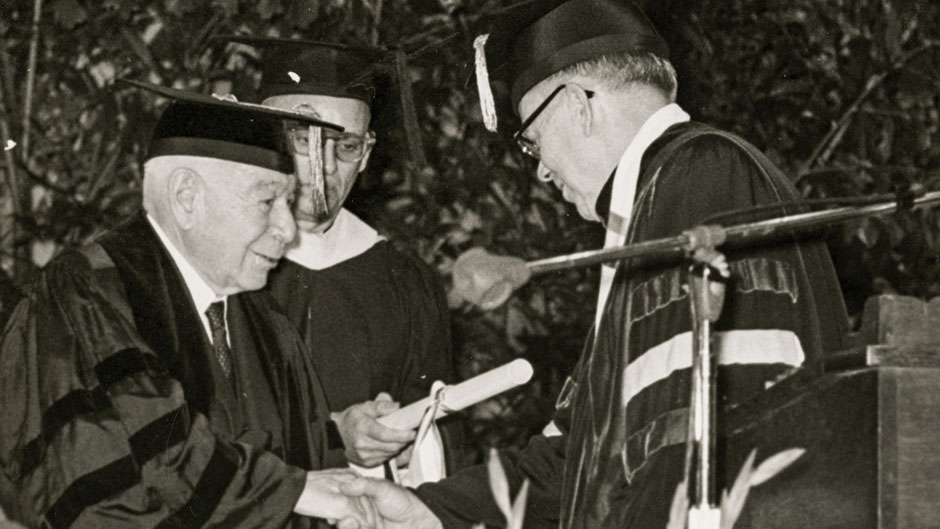 Jay F. W. Pearson, President of the University of Miami and Robert Frost, American poet, at commencement