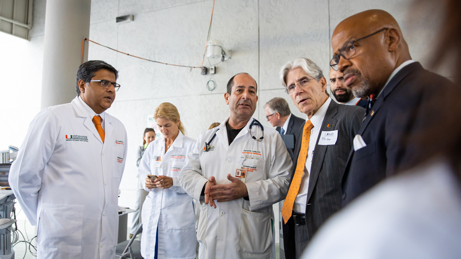 University of Miami President Julio Frenk (second from right) visited UHealth Tower earlier this week to learn more about how the University of Miami Health System is implementing measures to slow the spread of the novel coronavirus.