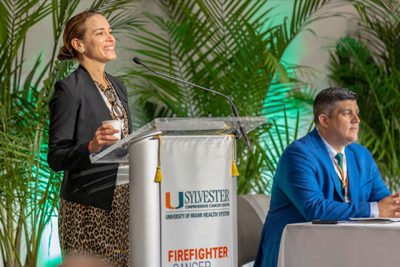 The director and deputy director of Sylvester's Firefighter Cancer Initiative, Erin Kobetz and Alberto J. Caban-Martinez, co-chaired the inaugural State of the Science National Firefighter Cancer Symposium in June 2019. Photos: TJ Lievonen/ University of Miami