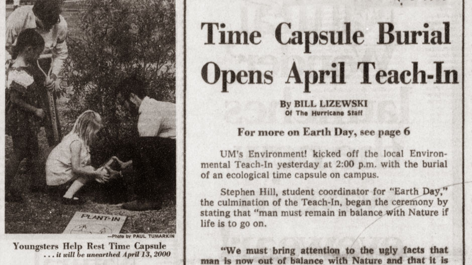 Newspaper article from Earth Day 1970