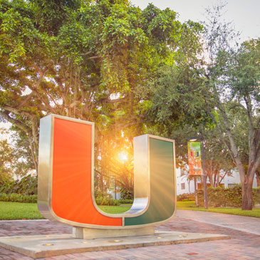 The U statue with sun flare.