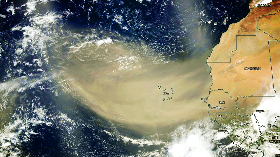 On June 18, 2020, NASA-NOAA's Suomi NPP satellite captured this visible image of the large light brown plume of Saharan dust over the North Atlantic Ocean. The image showed that the dust from Africa's west coast extended almost to the Lesser Antilles in the western North Atlantic Ocean. Credit: NASA Worldview