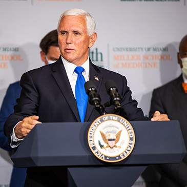 Vice President Mike Pence speaks during a press conference at the the University of Miami Miller School of Medicine on July 27, 2020 in Miami, Florida. Photo: TJ Lievonen/University of Miami