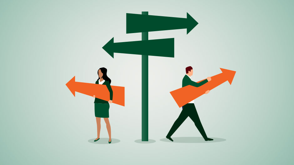 Graphic illustration shows businesspeople at a crossroads.