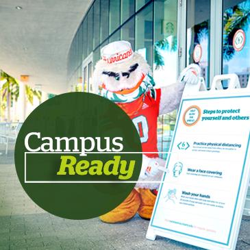Sebastian the Ibis wears his mask outside the Donna E. Shalala Student Center. Photo: Mike Montero/University of Miami