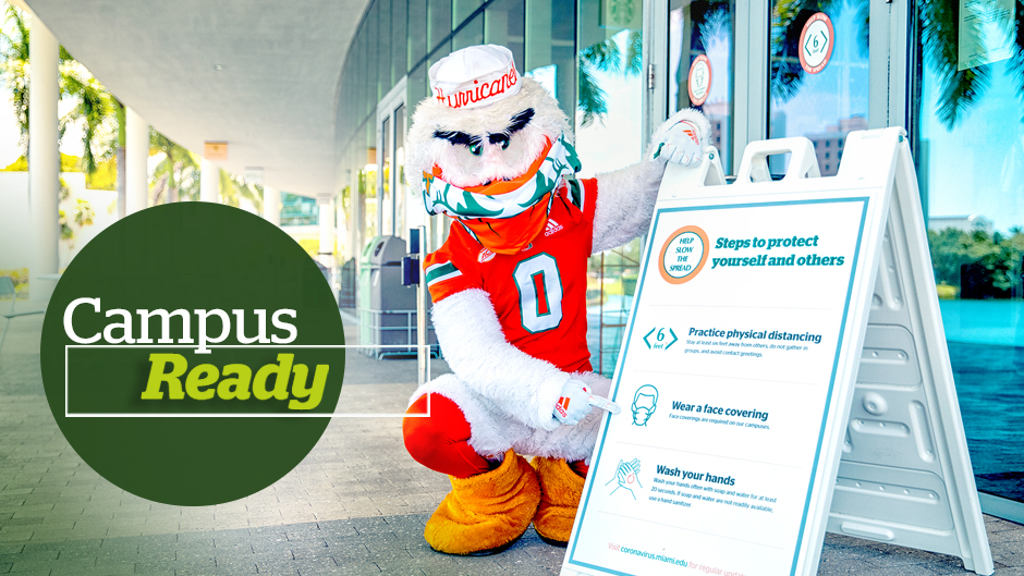 Sebastian the Ibis wears his mask outside the Donna E. Shalala Student Center. Photo: Mike Montero/University of Miami