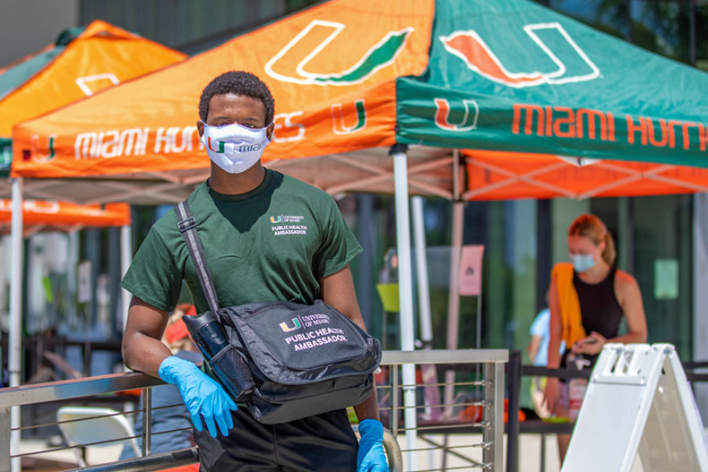First-year student Jacques Calixte is one of 75 public health ambassadors on the Coral Gables Campus. Photo: Mike Montero/University of Miami