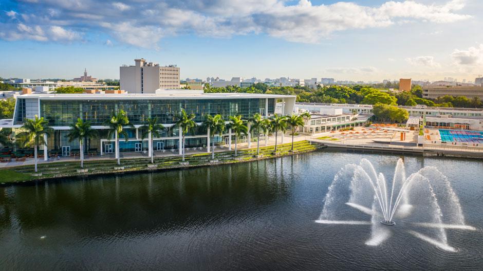 Shalala Student Center and Lake Osceola. Aerial photograph: TJ Lievonen/University of Miami