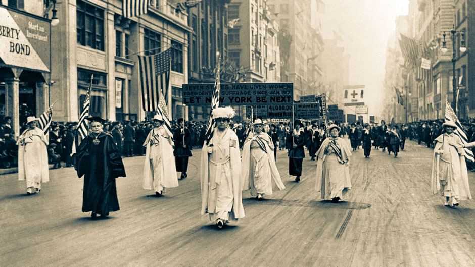 Dr. Anna Shaw and Carrie Chapman Catt, founder of the League of Women Voters, lead an estimated 20,000 supporters in a women's suffrage march on New York's Fifth Ave. in 1915 . (AP Photo)