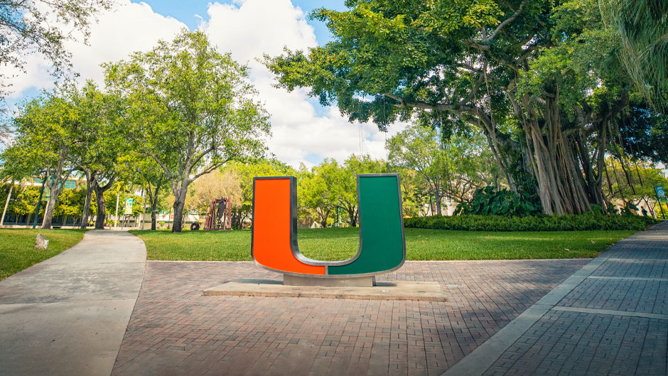 The U Statue on the University of Miami Coral Gables Campus. Photo: Mike Montero/University of Miami