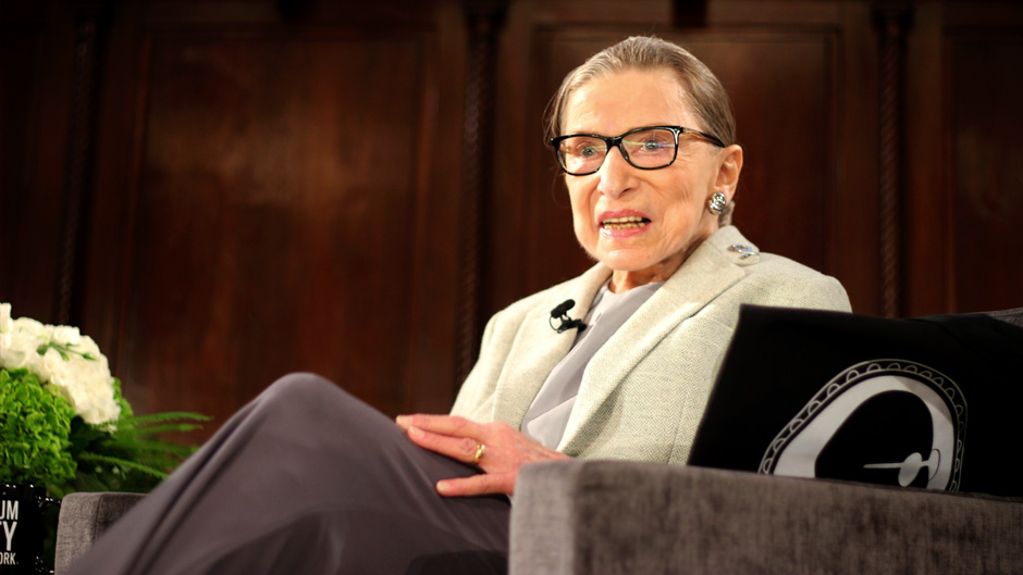U.S. Supreme Court Justice Ruth Bader Ginsburg sits onstage as the third speaker of the David Berg Distinguished Speakers Series, during an event organized by the Museum of the City of New York with WNET-TV held at the New York Academy of Medicine Saturday, Dec. 15, 2018, in New York.