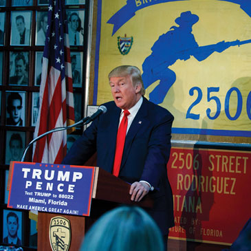 Donald Trump speaks to the Bay of Pigs Veterans Association, Tuesday, Oct. 25, 2016, in Miami. (AP Photo/ Evan Vucci)