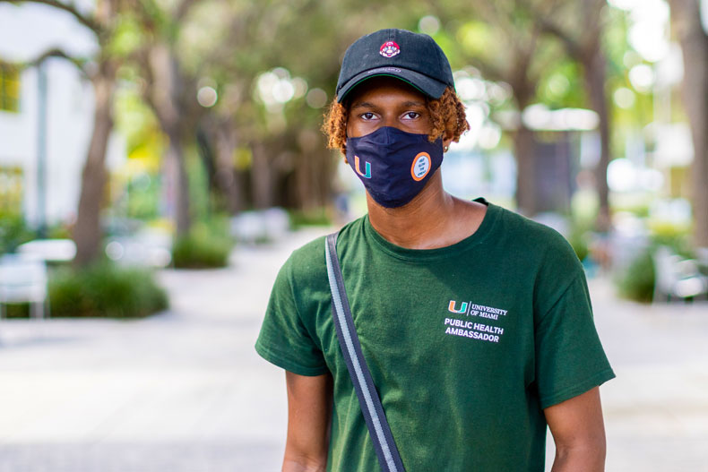 Joshua Wooten, a public health ambassador, supervises all five zones on the Coral Gables Campus to ensure things are running smoothly.