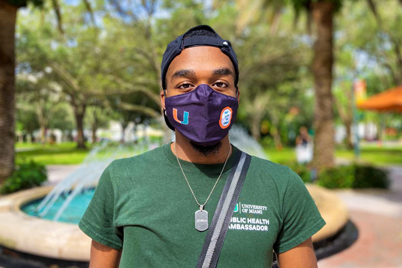 Deandre Athias, a junior majoring in public health, uses his role as a way to break out of his shell and keep the University community safe. Photo: Ashley A. Williams/University of Miami