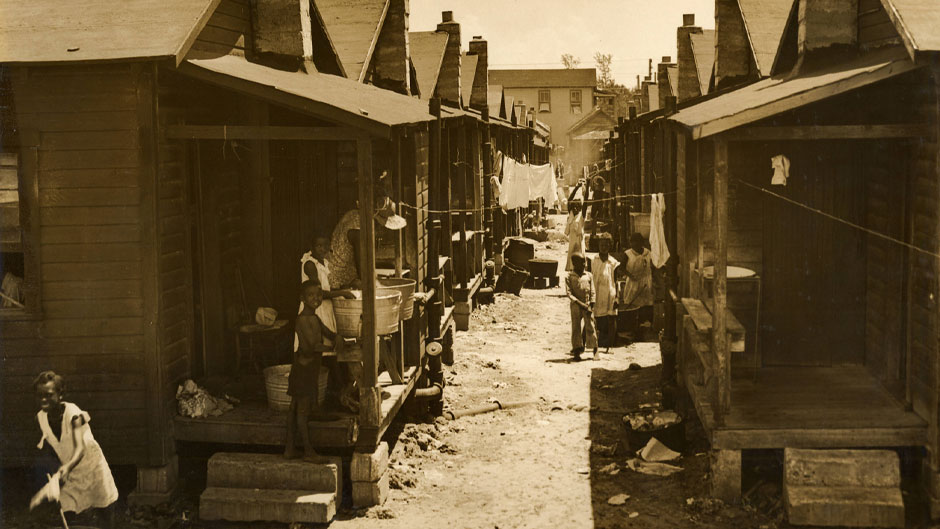 Shotgun shacks in Overtown, photographed in the 1940s