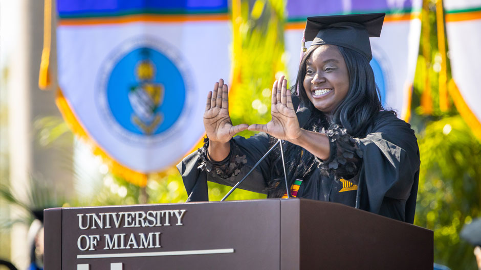 Student speaker Kaylah Taylor speaking during the virtual 10am Spring grad commencement ceremony. Photo: TJ Lievonen/University of Miami
