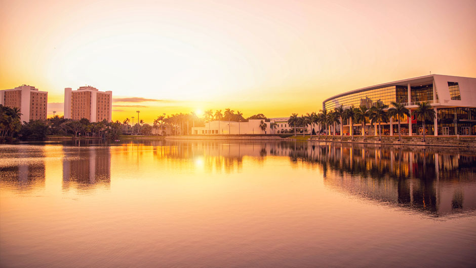 The sun sets over Lake Osceola on the Coral Gables Campus