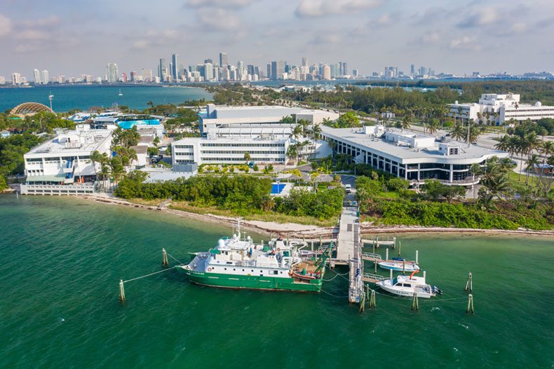 An aerial view of the Rosenstiel School of Marine and Atmospheric Science on Virginia Key.