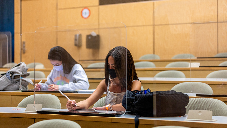 Students studying in an LC classroom