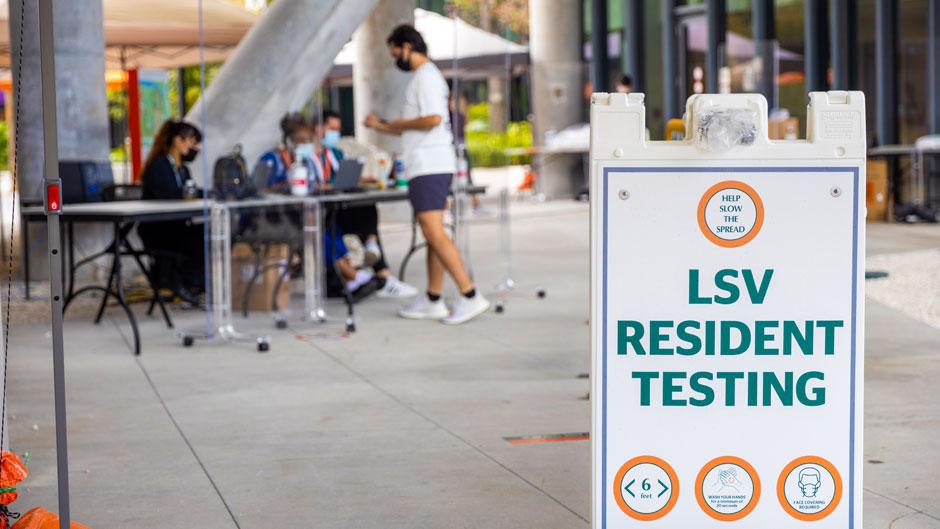 COVID-19 Breath Analyzer tests were deployed at Lakeside Village on Tuesday, Feb. 16. Photo: Evan Garcia/University of Miami
