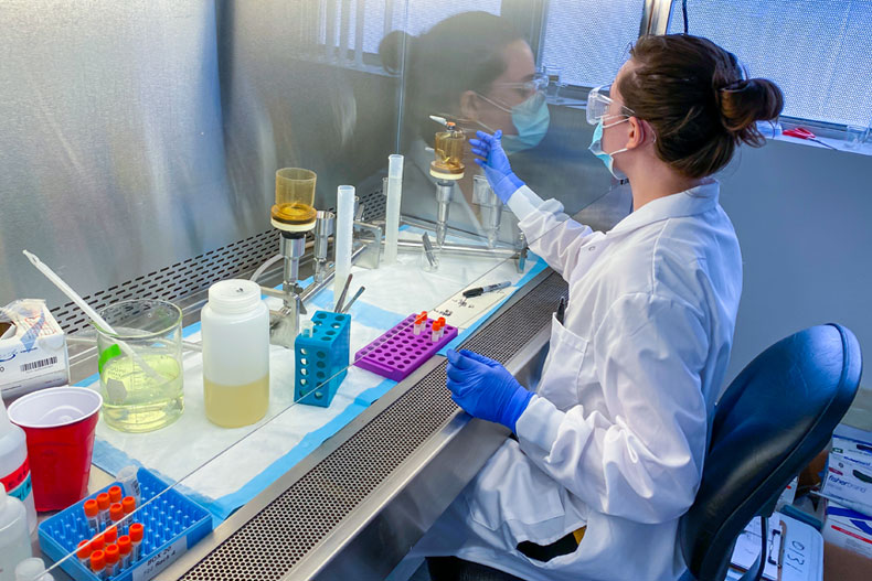 Kristina (Tina) Babler working in the lab processing wastewater samples.