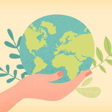 Graphic illustration depicting global sustainability