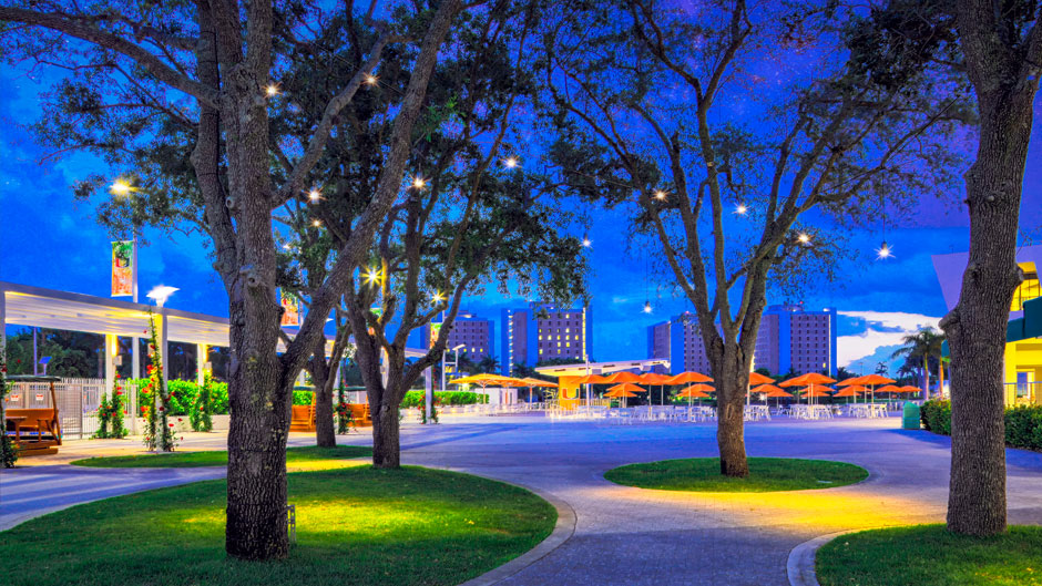 An evening view of the Lakeside Patio. Photo: Mike Montero/University of Miami