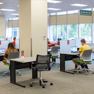 Students study on the second floor of the Otto G. Richter Library. Photo: Evan Garcia/University of Miami