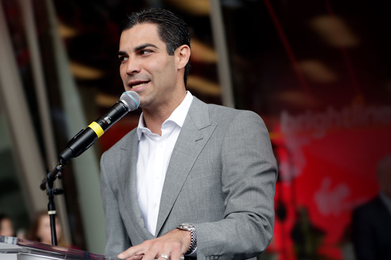Miami Mayor Francis Suarez speaks during a naming ceremony at the Brightline train station, Thursday, April 4, 2019, in Miami. (AP Photo/Lynne Sladky)
