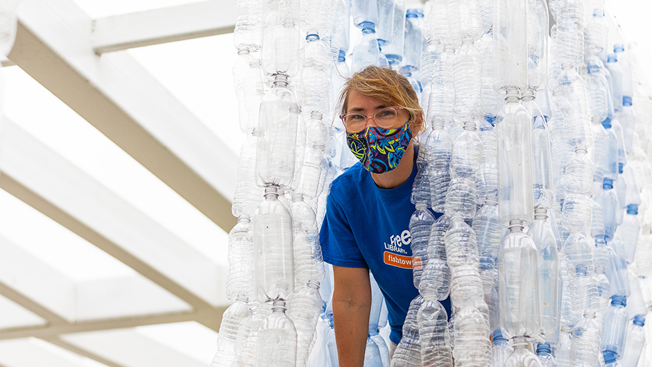 Jenna Efrein, a senior lecturer in the Department of Art and Art History, is collecting plastic water bottles for her latest art installation in honor of Earth Week. Photo: Jenny Hudak/University of Miami