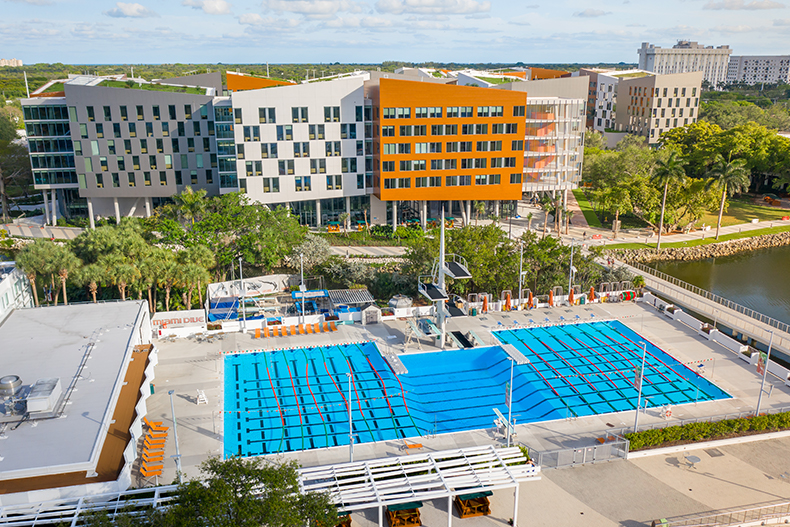 An aerial view of the University Center Pool and Lakeside Village on the Coral Gables Campus. Photo: TJ Lievonen/University of Miami