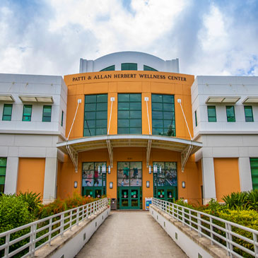 An exterior view of the Herbert Wellness Center on the Coral Gables Campus. Photo: TJ Lievonen/University of Miami