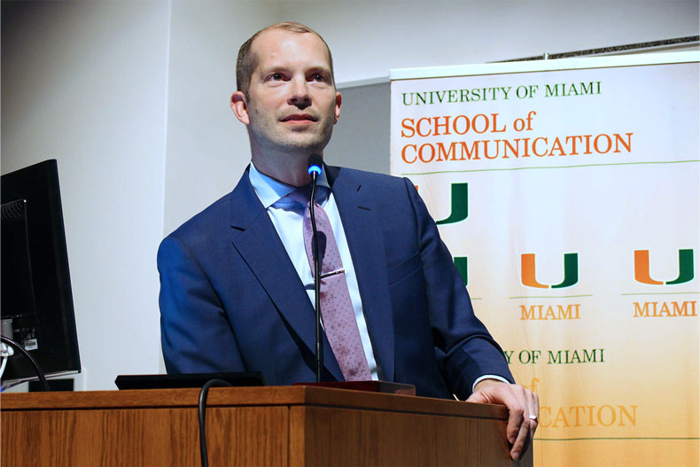 Javier Morgado was honored with the South Florida Communicator of the Year Award during the 70th Annual Student Media Awards, hosted by the School of Communication in 2019. Photo: Karina Valdes/University of Miami