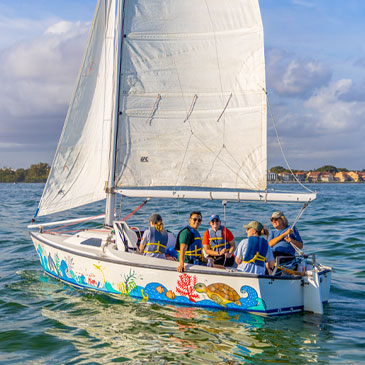 University of Miami students sail with Shake a Leg in January 2020. Photo: Evan Garcia/University of Miami