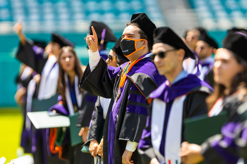 The School of Law ceremony was the first of seven this week that will honor the University of Miami's 3,842 graduates. Photo: TJ Lievonen/University of Miami