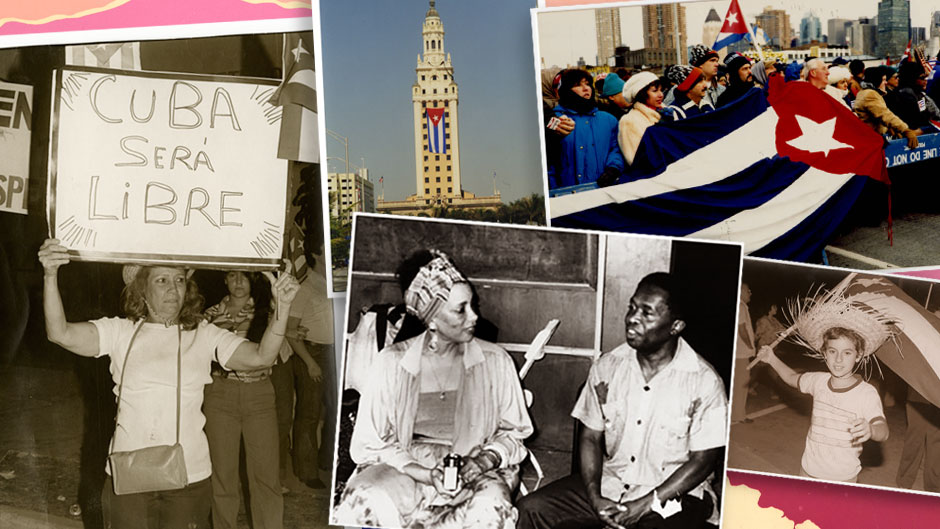 Collage of photos from University Libraries showcasing the Cuban and Haitian diaspora.